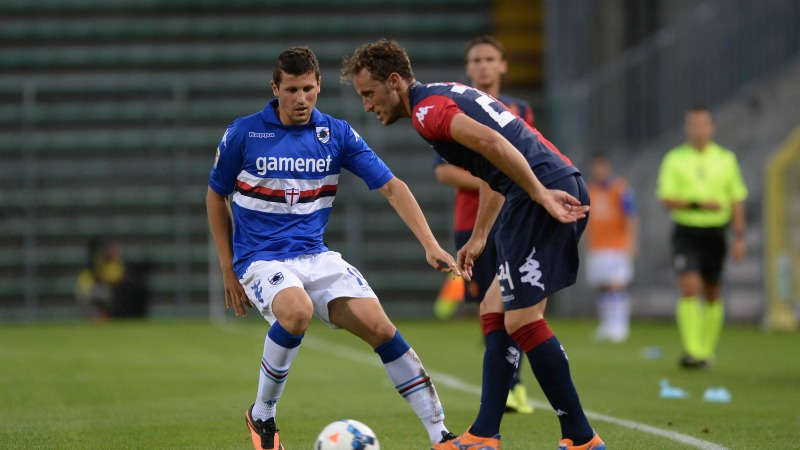 during the Serie A match between Cagliari Calcio and UC Sampdoria at Stadio Nereo Rocco on September 21, 2013 in Trieste, Italy.