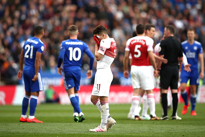 LEICESTER, ENGLAND - APRIL 28: Lucas Torreira of Arsenal reacts during the Premier League match between Leicester City and Arsenal FC at The King Power Stadium on April 28, 2019 in Leicester, United Kingdom. (Photo by Marc Atkins/Getty Images)